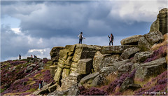 If I go any further back I'll be over 'The Edge' (Fermat 48) Tags: curbaredge theedge derbyshire peakdistrict flyingants rocks sky clouds people pleading heather canon eos 7dmarkii