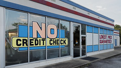 No Credit Check (N.the.Kudzu) Tags: suburban atlanta gwinnettcounty norcross georgia storefronts olympusomdm10mkii dxoopticspro11