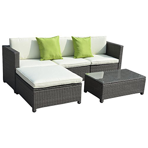 Goplus®5PC Outdoor Patio Sofa Set Furniture PE Wicker Rattan Deck Couch Gradient Brown Review