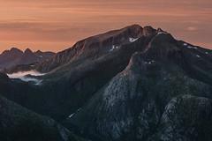 Suolovarri (eriknst) Tags: alpenglow rundfjellet lofoten norway norwegen landscape mountain sunset clouds fog glow nature calm summer traveling exploring nikon d810 tamron 70200f28 mountainscape details orange pink