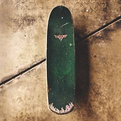 239 : 365 : VI (Randomographer) Tags: project365 john lucero red cross deck skateboard 2000 green grip tape concrete floor vanhalen flames painted wood maple black label 365 vi 239 vh logo