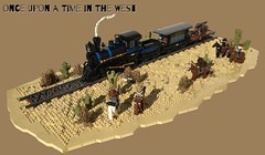 Once Upon a Time in the West - Train robbery (markus19840420) Tags: roguebricks lego moc contest western wildwildwest cowboys indianer cavallerie bricks train robbery cactus landscape