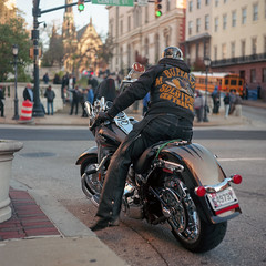 (patrickjoust) Tags: tlr twin lens reflex 120 6x6 medium format c41 color negative film manual focus analog mechanical patrick joust patrickjoust baltimore maryland md usa us united states north america estados unidos urban street city mount mt vernon square man 1111 day veterans buffalo soldiers motorcycle morning