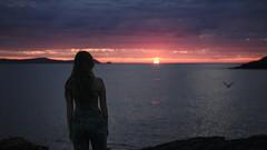 The end. (Andrea · Alonso) Tags: me selfportrait autorretrato retrato portrait contrast contraste silhouette silueta puesta de sol atardecer galicia españa spain sunset sun clouds sky cielo seagull gaviota olas mar waves sea ocean
