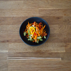left over veggie salad: ready to serve (kiddy factory) Tags: cook meal salad recipe carrots cucumber pepper minipepper dressing vinegar soysauce sesameoil quick simple dish sidedish