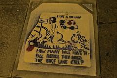 Eclair Acuda Bandersnatch, San Francisco, CA (Robby Virus) Tags: sanfrancisco california sf ca eclair acuda bandersnatch stencil art artist street sidewalk cement concrete pavement bicycle lane 17th church accident cyclist death fall hazard danger tracks streetcar