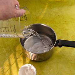 Agar-agar and water. (annick vanderschelden) Tags: agar lime lemon juice board wood kitchen culinary agaragar jellylike algae ploysaccharide agarose redalgae agaropectin dessert vegetarian gelling gelation polymer sugargalactose japan hysteresis gelatin 1650 tarozaemon kanten polysaccharide structure cellwalls boil seaweed agarobiose rigid brittle syneresis hydrate absorb water ingredient thickening whippingsiphon fluidgel clarifyingagent disperse yellow belgium