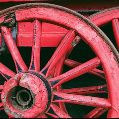 Red (Peter.Bartlett) Tags: red cart faded iphone7 cellphone mobilephone vsco shibdenhall yorkshire abstract spokes texture