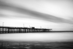 Pismo Beach Pier (StefanB) Tags: 1235mm 2017 bw california coast em5 geotag longexposure monochrome outdoor pacific pier pismobeach seascape
