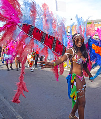 DSC_3043b Notting Hill Caribbean Carnival London Exotic Colourful Pink Costume with Red Blue and Pink Feather Wings Showgirl Performer Aug 28 2017 Stunning Lady with Sun Glasses and Flag of Dominica (photographer695) Tags: notting hill caribbean carnival london exotic colourful costume showgirl performer aug 28 2017 stunning lady with sun glasses pink red blue feather wings flag dominica