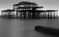 Close up to original pier (www.davidrosenphotography.com) Tags: pier brighton sea travel blackwhite landscape seascape graphic