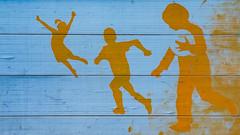Enfances (childhoods) (Larch) Tags: silhouette enfant palissade chantier enfance chidhood child buildingsite fence peinture painting ballon ball lausanne suisse switzerland cio comitéinternationalolympique internationalolympiccommittee