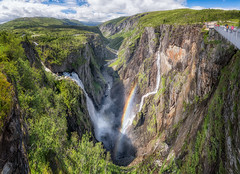 Vøringsfossen with a rainbow (languitar) Tags: norway vøringsfossen rainbow waterfall river panorama photography mountains sky clouds colorefex4 water hdr valley colorefex kingdomofnorway nikcolorefex norge hordaland no