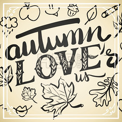 Autumn Loves us Typo and Icons (Hebstreits) Tags: abstract apple art autumn background cartoon decor design different doodle doodles drawn elements fall floral graphic hand icon illustration ink leaf leaves lightning love nature object outdoor season seasonal set sketch symbol tree umbrella vector vintage weather