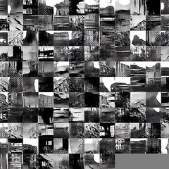 Left the GAN training overnight using images from @brutalist_sheffield and got this nice set of stark images. #process cc @pamela_dust