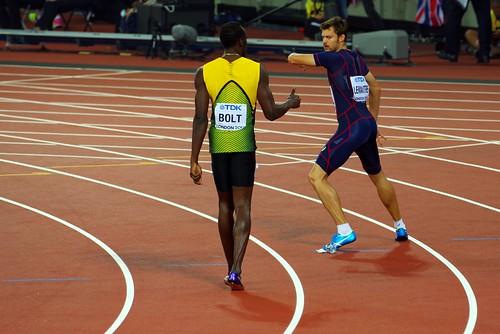 Usain Bolt and Christophe Lemaitre, London 2017, 4x100m relay