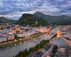 Aerial View of Salzburg in the Evening, Austria (ansharphoto) Tags: aerial architecture austria austrian baroque blue bridge building cathedral church city cityscape clouds electric embankment europe european evening famous heritage hills historic history iconic illuminated landmark landscape lights medieval mountain night old picturesque river salzach salzburg sky skyline sunlight sunset tourism tower town townscape travel trees twilight vacation view water