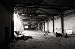 i must be gone by the seventh day (fallsroad) Tags: tulsaoklahoma westernsupplycompany industrial abandoned decay factory bw blackandwhite urban city downtown brick beams steel nikonsigma