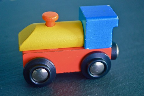 A Multi Coloured Wooden Toy Train