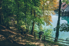 After the Rain (freyavev) Tags: blautopf blaubeuren badenwürttemberg germany deutschland nature water spring turquoise umbrella canon canon700d vsco outdoor fence colorful trees