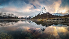 Skyrim (hpd-fotografy) Tags: arctic norway scandinavia skyrim stetind sunrise clouds cold dramatic fjord ice light mountain north panorama sky snow sunset weather wideangle winter