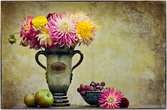 flowers and fruit 32/52 (sure2talk) Tags: flowersandfruit flowers fruit gift stilllife naturemorte naturallight vase wiels belgian apples grapes bowl pottery texture nikond7000 nikkor50mmf14gafs 52weeksfornotdogs 3252