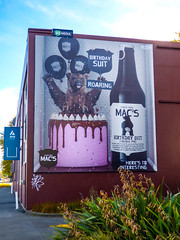 Mac's Birthday Suit (Steve Taylor (Photography)) Tags: macs birthdaysuit roaring herestointeresting balloon birthday cake since1981 icing dripping ara animal poster billboard building brown blue green pink newzealand nz southisland canterbury christchurch cbd city flax seed bottle ipa tag