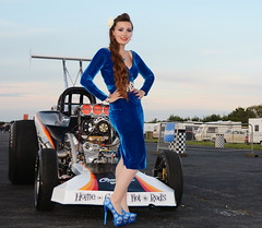 Holly_5156 (Fast an' Bulbous) Tags: blue velvet wiggle dress girl woman hot sexy car vehicle automobile dragster racecar altered people outdoor santapod pinup model long brunette hair stilettos shoes high heels stockings nylons dragstalgia