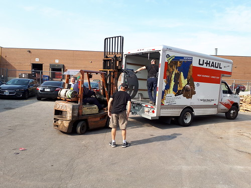 Loading U Haul for trip to Vancouver.....1st is Eric's fire pit ring
