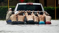 Men pushing truck in Houston (Utah Guy) Tags: houston men stuck truck shirtless manpower flood 2017 august