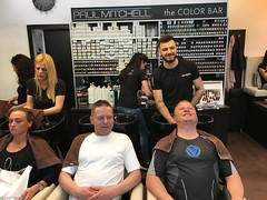 Tor Erling and Kjell getting a Balkan cut, Belgrade!