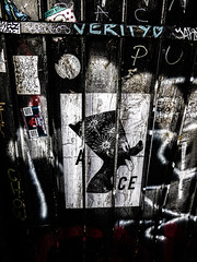 ACE (Steve Taylor (Photography)) Tags: ace candykittens lowdowndeep pharaoh egyptian verity brentos graffiti pasteup wheatup wheatpaste streetart sticker tag fence lowkey dark stark spray paper uk gb england greatbritain unitedkingdom london