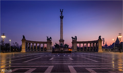 Early morning at Heroes Square, Budapest (AdelheidS Photography - home at last) Tags: canoneos6d adelheidspictures heroessquare hungary monument dawn daybreak bluehour budapest adelheidsphotography