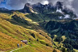Family hiking, Bussalp. Above Grindelwald. Canton of Bern. Switzerland. No. 8311.