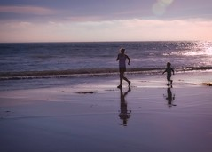sunset jog (mtmelody14) Tags: ocean malibu beach motherson jogging sunset