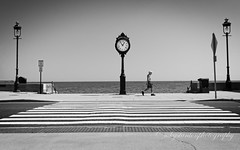 Time for a walk (mgstanton) Tags: beach revere summer reverebeach walk clock blackandwhite bw