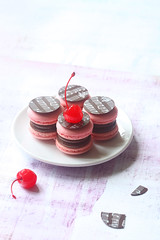 Macarons with Chocolate Ganache and Cherry Confit (Мiuda) Tags: macarons cherry chocolate filling pink rose pastel colors colours colorful food bake baking baked bakery french paris light lightfull cherries candy candies sweet sweets sweetfood canon foodphotography foodphoto confit confiture jam red delicious homemade professional stilllife fruits berries yummy meringue chocolates foodblog foodblogger blog blogger confectioner pastry patisserie patissier sugar powdered music transfer chocolatetransfer decor decoration