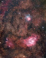 2017 mosaic M8-M20 Aut9+10_ Aut1 with SCOPOS TL805 + WO 0.8X+ 550D (EXPLORE 13/09/2017) (rocco parisi) Tags: astronomia astronomy canon550d 550d t2i sky astrofotografia astrophotography universo universe eos550d dslr deepspace deepsky sicily sicilia nebrodi tl805 scopos vialattea milkyway nebula nebulae nebulosa nebulose m8 m20 laguna trifida stars ic1275 ngc6559 ic1274 ic4685 ngc6544 ngc6546 ngc6530 m21 ngc6531 lagoonnebula hourglassnebula ngc6523 ngc6526 trifidnebula ngc6514 astrometrydotnet:id=nova2229246 astrometrydotnet:status=solved roccoparisi night