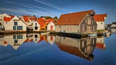 Skudeneshavn, Norway (Vest der ute) Tags: xt2 norway rogaland karmøy sea water seaside reflections mirror boat boathouse bluesky serene summer fav25 fav200