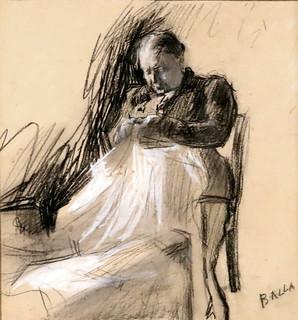 IMG_2550A Giacomo Balla. 1871-1955.  Studio libero per il ritratto di Clelia Ghedini Marani.  Study for the portrait of Clelia Ghedini Marani.  1907. Turin Galleria d'Arte Moderna e Contemporanea
