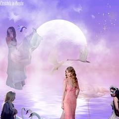 Le Lac des Cygnes || - Hommage à TCHAÏKOVSKY ! version  christabelle ! (christabelle12300) Tags: artdigital lune femmes cygnes oiseaux leau netartii