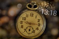 Evolution in time... (eleni m) Tags: macromondays evolution hmm macro analog digital pocketwatch time bokeh feather old vintage numbers figures indoor timeflies