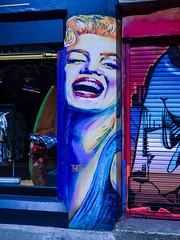 Marilyn Monroe (Steve Taylor (Photography)) Tags: thieu marilynmonroe cheshirestreet shoreditch stencil art graffiti mural streetart shop store colourful woman lady smiling smile happy uk gb england greatbritain unitedkingdom london shutter