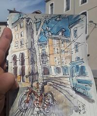 Pas loin de la pref.  Il fait beau et bon #urbansketchers #grenoble #velotaf (dege.guerin) Tags: instagramapp square squareformat iphoneography uploaded:by=instagram