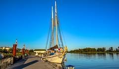 Idyllic (Christie : Colour & Light Collection) Tags: sailboat pier dock wharf moored mooring bluesky peaceful idyllic romantic steveston bc canada richmond boats fishingvillage blue britishcolumbia