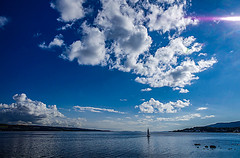 The Earth Is Flat 2 (Brian Travelling) Tags: theearthisflat earth flat blue bluesky fluffyclouds clouds firthofclyde clyde clydecoast arran isleofarran seascape water ayrshire ayrshirenorth northayrshire scotland scenery scenic scottish scots reflecting