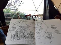 Sketching Bubble dome (P h i l de couleur) Tags: aquarelle architecture encre ink reunion reunionisland croquis sketch dessin dome watercolor intérieur