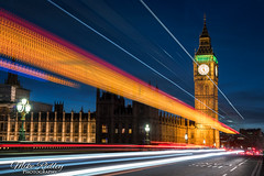 London nights ... (Mike Ridley.) Tags: bigben london traffictrails longexposure longwayfromhome nightscene night dusk street streetlights sonya7r2 mikeridley orange bluehour blue housesofparliament theclocktower elizabethtower westminsterbridge