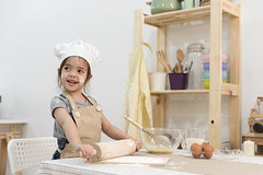 DAN_9258 (Mangpink) Tags: fun funny food apron making girl little kid preparation hat happy preparing happiness pastry dough people cake bakery baker young bake chef child cooking cute table cook childhood playful rollingpin white smile play rolling eggs bread emotion laugh lifestyle home kitchen laughs family toddler biscuit beautiful caucasian cookie dessert