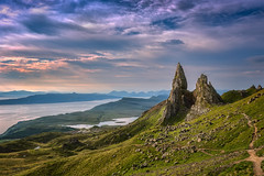 Ancient Pinnacles (Pete Rowbottom, Wigan, UK) Tags: skye isleofskye scotland scotlandlandscape scottish old ancient sky skies colours red yellow art nature outdoor landscape uk uklandscape peterowbottom hills mountains scottishmountains raasay sunrise dawn light earlymorning nikond750 rocky feature rockfeature unusual beautiful dramatic drama clouds slowshutterspeed sea coast coastline coastalscotland golden water summer leefilters oldmanofstorr northernskye geotagged highlands scottishislands highlandsandislands innnerhebrides hebrides purple warm